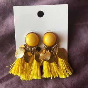 Stylish yellow fringe earrings